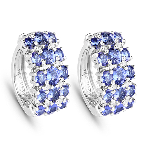 Earrings-6.94 Carat Genuine Tanzanite and White Diamond .925 Sterling Silver Earrings