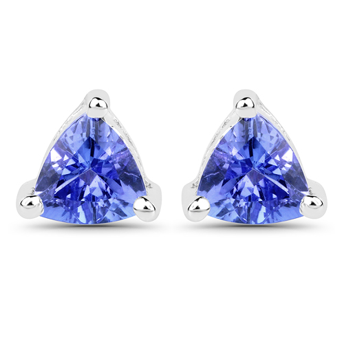 Earrings-0.64 Carat Genuine Tanzanite 14K White Gold Earrings