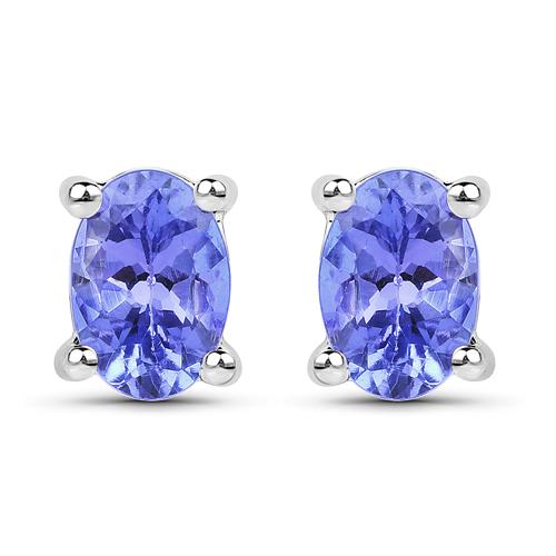 0.66 Carat Genuine Tanzanite .925 Sterling Silver Earrings
