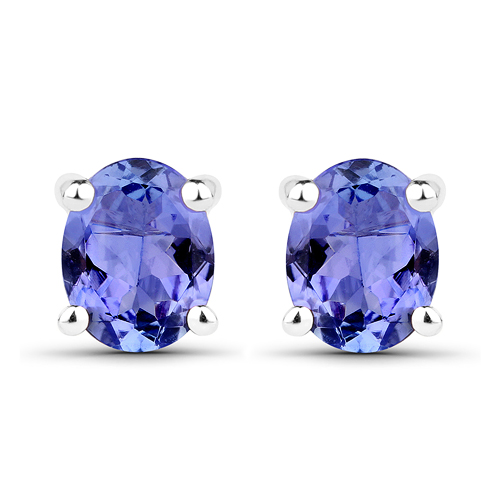 Earrings-0.66 Carat Genuine Tanzanite 14K White Gold Earrings