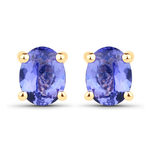 Earrings-0.66 Carat Genuine Tanzanite 14K Yellow Gold Earrings