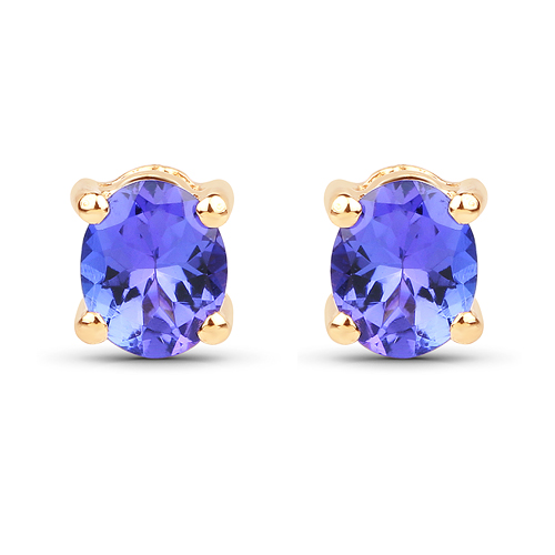 Earrings-0.70 Carat Genuine Tanzanite 14K Yellow Gold Earrings
