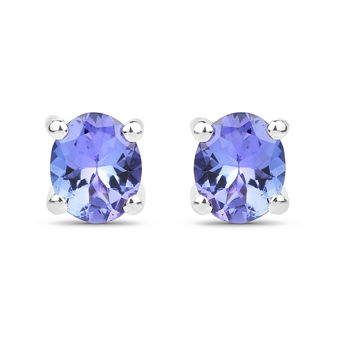 Earrings-0.66 Carat Genuine Tanzanite .925 Sterling Silver Earrings
