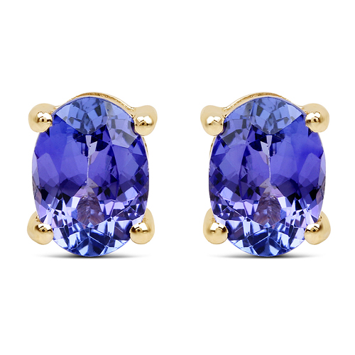 Earrings-2.00 Carat Genuine Tanzanite 14K Yellow Gold Earrings