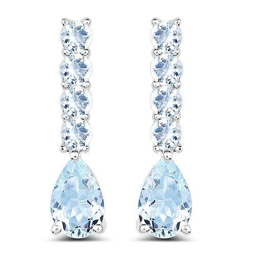 Earrings-2.40 Carat Genuine Aquamarine .925 Sterling Silver Earrings