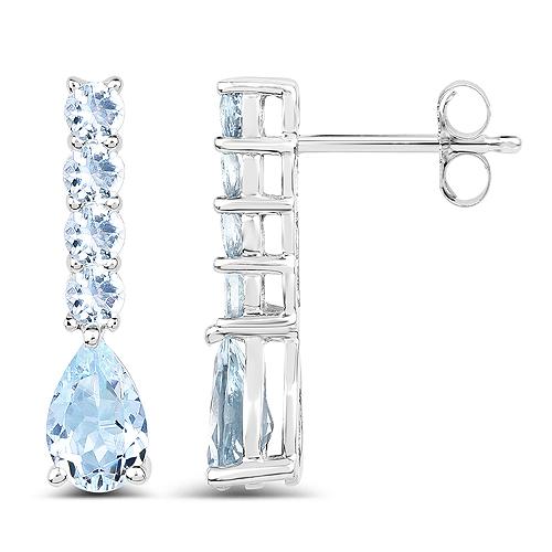 2.40 Carat Genuine Aquamarine .925 Sterling Silver Earrings