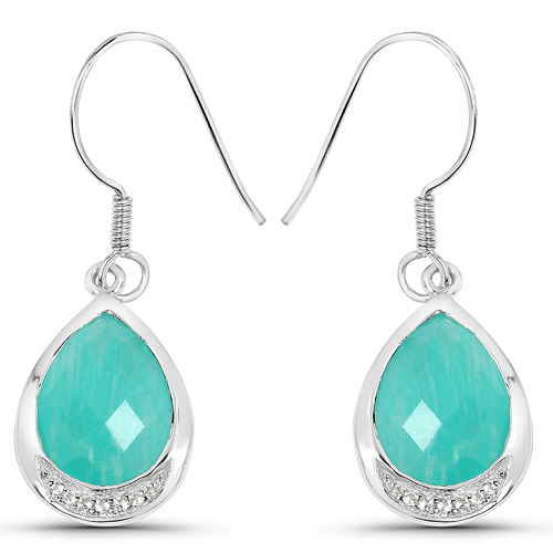 Earrings-9.27 Carat Genuine Amazonite And White Topaz .925 Sterling Silver Earrings
