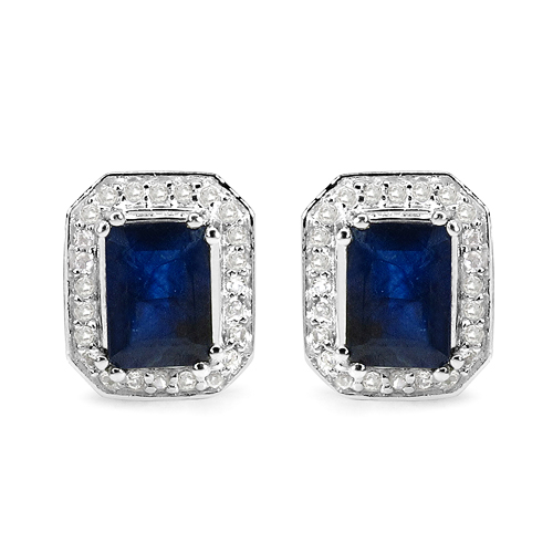 Earrings-3.54 Carat Glass Filled Sapphire and White Topaz .925 Sterling Silver Earrings