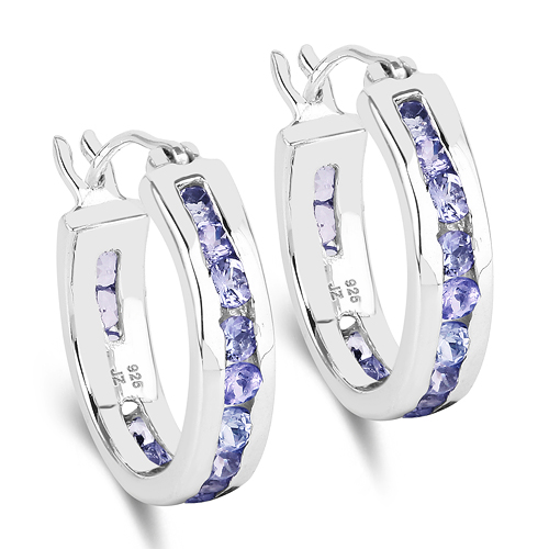 Earrings-1.19 Carat Genuine Tanzanite .925 Sterling Silver Earrings