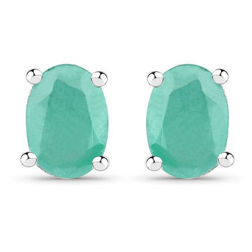 Emerald-1.60 Carat Dyed Emerald .925 Sterling Silver Earrings