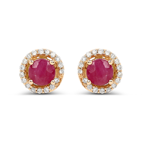 Earrings-0.71 Carat Genuine Ruby and White Diamond 14K Yellow Gold Earrings