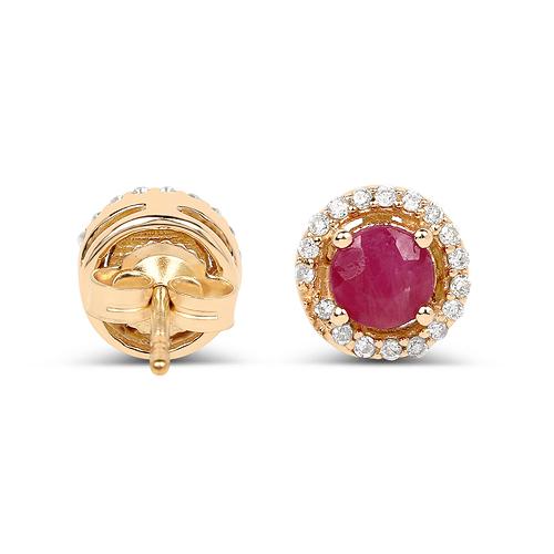 0.71 Carat Genuine Ruby and White Diamond 14K Yellow Gold Earrings