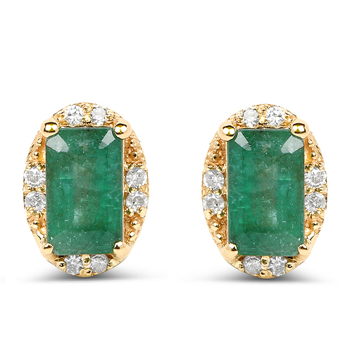 Emerald-0.61 Carat Genuine Zambian Emerald and White Diamond 14K Yellow Gold Earrings