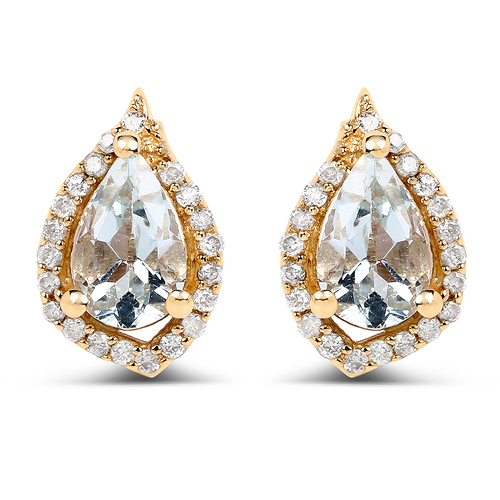 Earrings-0.83 Carat Genuine Aquamarine and White Diamond 14K Yellow Gold Earrings
