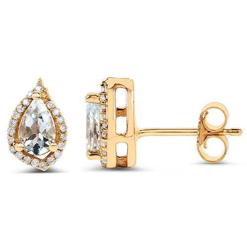0.83 Carat Genuine Aquamarine and White Diamond 14K Yellow Gold Earrings
