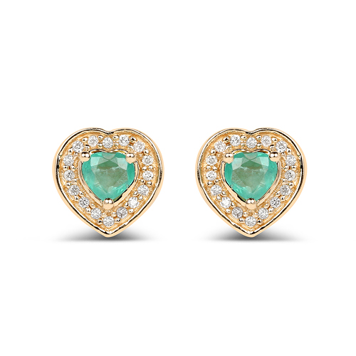 Emerald-0.60 Carat Genuine Zambian Emerald and White Diamond 14K Yellow Gold Earrings