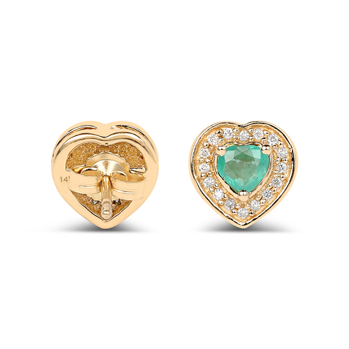 0.60 Carat Genuine Zambian Emerald and White Diamond 14K Yellow Gold Earrings