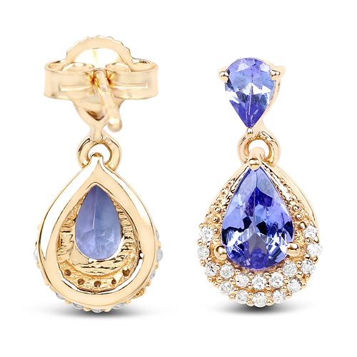 1.12 Carat Genuine Tanzanite and White Diamond 14K Yellow Gold Earrings