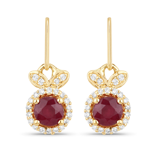 Earrings-0.73 Carat Genuine Ruby and White Diamond 14K Yellow Gold Earrings