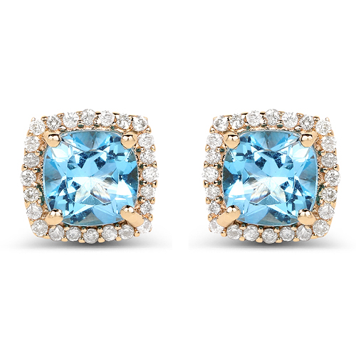 Earrings-1.58 Carat Genuine Swiss Blue Topaz and White Diamond 14K Yellow Gold Earrings