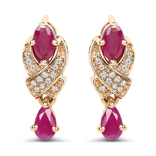 Earrings-1.12 Carat Genuine Ruby and White Diamond 14K Yellow Gold Earrings