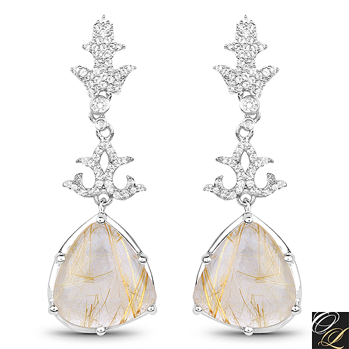 Earrings-15.97 Carat Genuine Golden Rutile And White Topaz .925 Sterling Silver Earrings