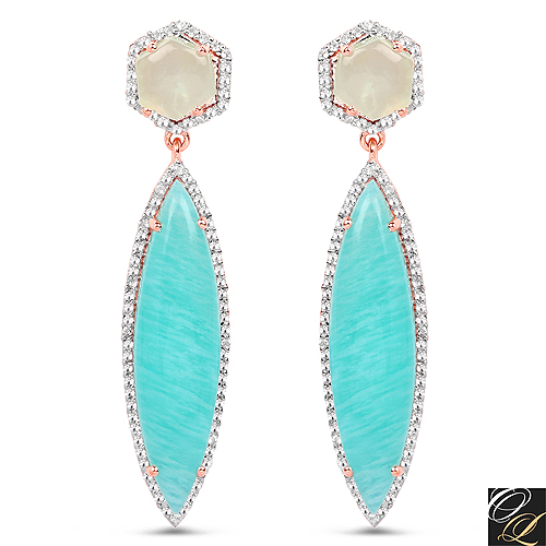 Earrings-14K Rose Gold Plated 17.14 Carat Genuine Amazonite, Prehnite And White Topaz .925 Sterling Silver Earrings