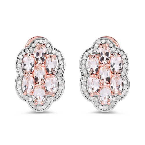 Earrings-14K Rose Gold Plated 3.52 Carat Genuine Morganite And White Diamond .925 Sterling Silver Earrings