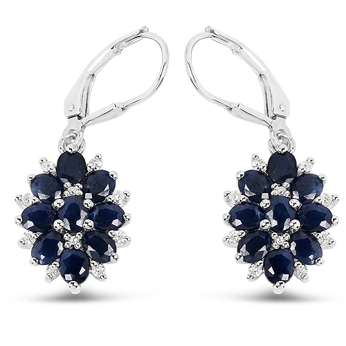 Earrings-3.94 Carat Blue Sapphire and White Zircon .925 Sterling Silver Earrings