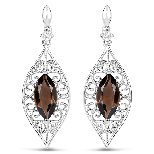 Earrings-5.09 Carat Genuine Smoky Quartz And White Topaz .925 Sterling Silver Earrings