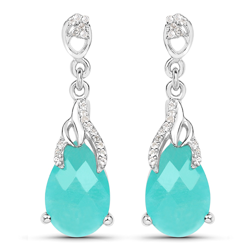 Earrings-5.56 Carat Genuine Amazonite And White Topaz .925 Sterling Silver Earrings