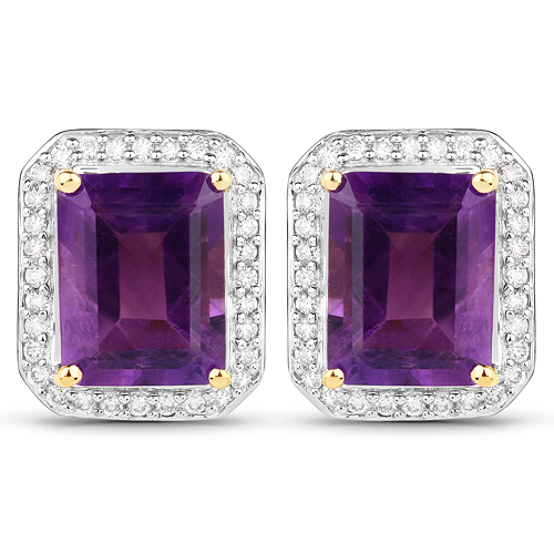 Amethyst-4.49 Carat Genuine Amethyst and White Diamond 14K Yellow Gold Earrings