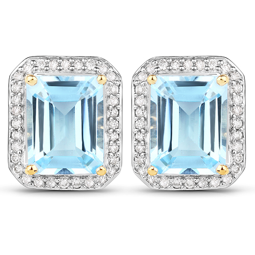 5.49 Carat Genuine Blue Topaz and White Diamond 14K Yellow Gold Earrings