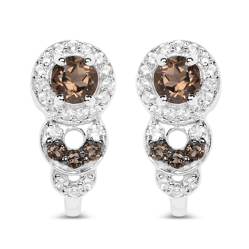 Earrings-0.81 Carat Genuine Smoky Quartz and White Topaz .925 Sterling Silver Earrings
