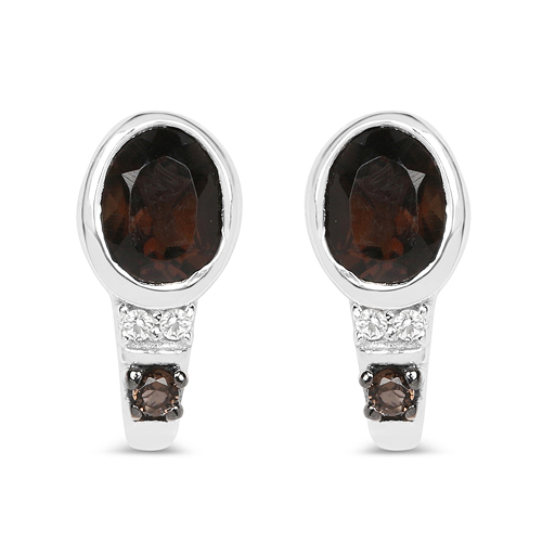 Earrings-0.67 Carat Genuine Smoky Quartz and White Topaz .925 Sterling Silver Earrings