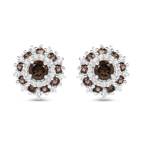 Earrings-1.29 Carat Genuine Smoky Quartz and White Topaz .925 Sterling Silver Earrings