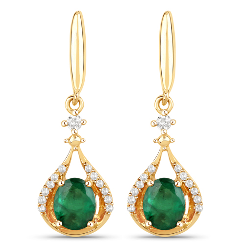 Emerald-0.70 Carat Genuine Zambian Emerald and White Diamond 14K Yellow Gold Earrings
