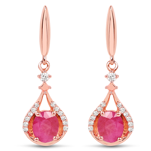 Earrings-0.70 Carat Genuine Ruby and White Diamond 14K Rose Gold Earrings