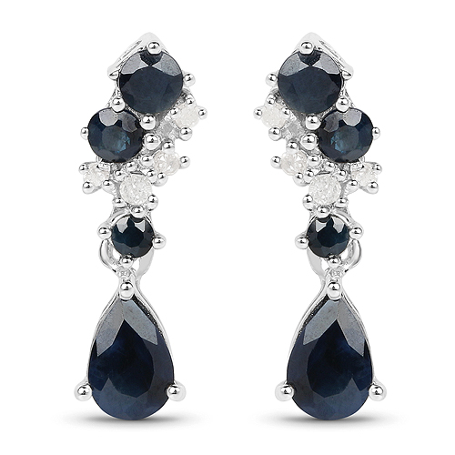 Earrings-1.41 Carat Genuine Multi Stone .925 Sterling Silver Earrings