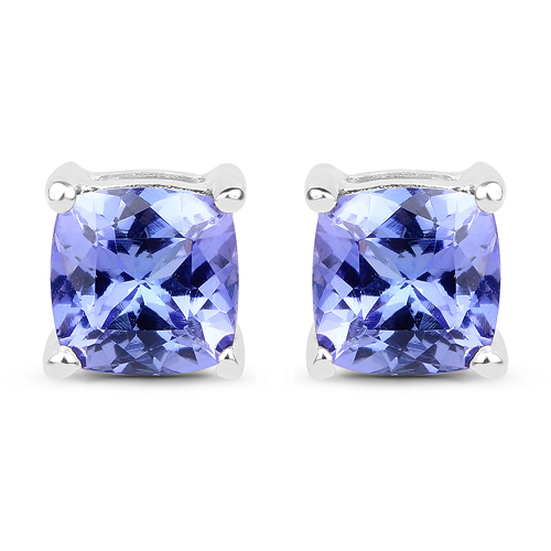 Earrings-1.62 Carat Genuine Tanzanite 14K White Gold Earrings