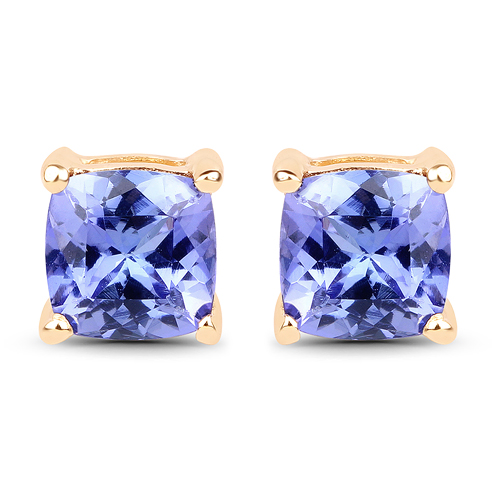 Earrings-1.62 Carat Genuine Tanzanite 14K Yellow Gold Earrings