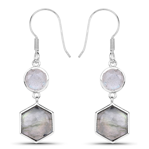 Earrings-10.74 Carat Genuine Labradorite .925 Sterling Silver Earrings