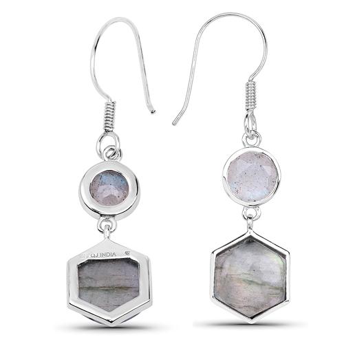 10.74 Carat Genuine Labradorite .925 Sterling Silver Earrings