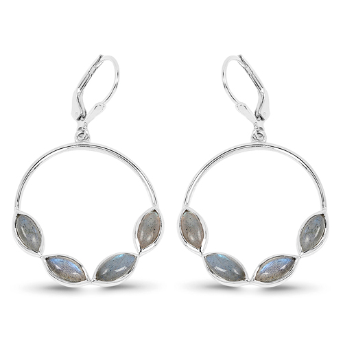 Earrings-4.18 Carat Genuine Labradorite .925 Sterling Silver Earrings