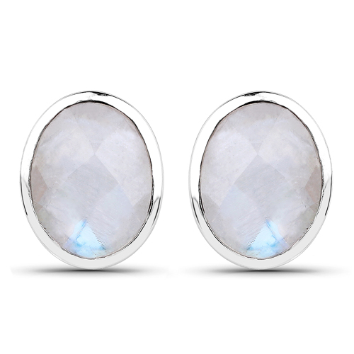 Earrings-4.05 Carat Genuine White Rainbow Moonstone .925 Sterling Silver Earrings