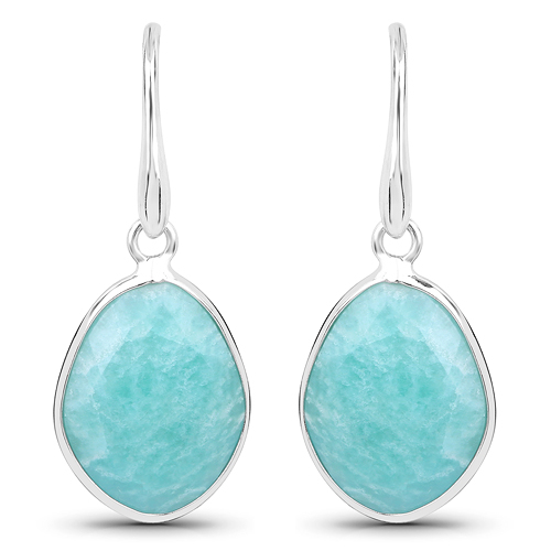 Earrings-7.92 Carat Genuine Amazonite .925 Sterling Silver Earrings