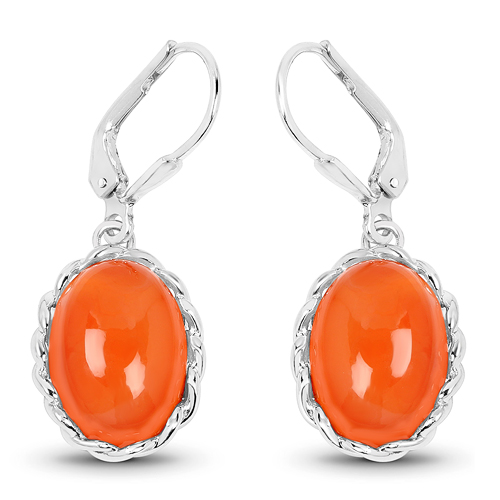 Earrings-11.16 Carat Genuine Carnelian .925 Sterling Silver Earrings