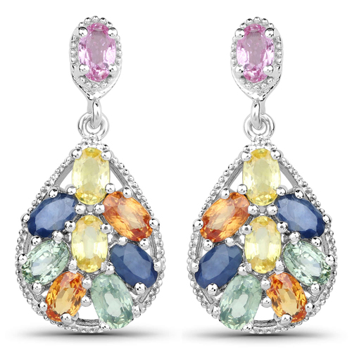 Earrings-4.50 Carat Genuine Multi Sapphire .925 Sterling Silver Earrings