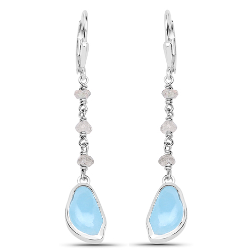Earrings-5.53 Carat Genuine Aquamarine and Labradorite .925 Sterling Silver Earrings