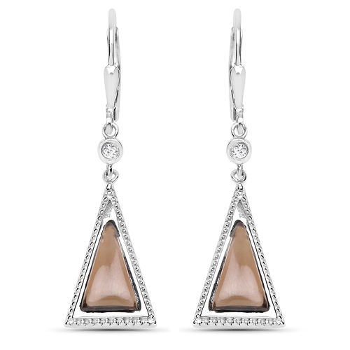 Earrings-2.88 Carat Genuine Smoky Quartz and White Topaz .925 Sterling Silver Earrings
